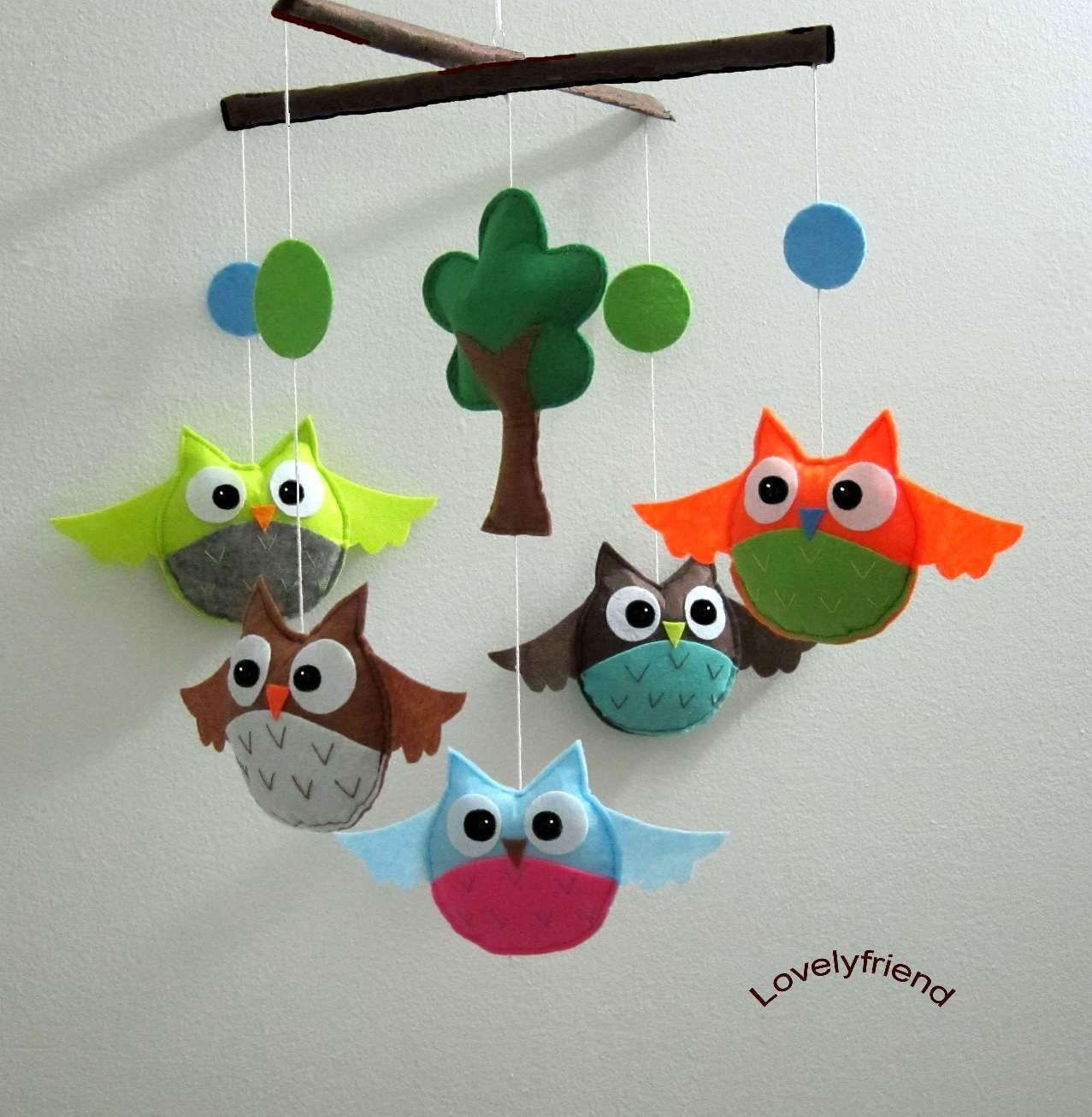 Baby Mobile  bright owls decorate mobile  baby door lovelyfriend, $78,00