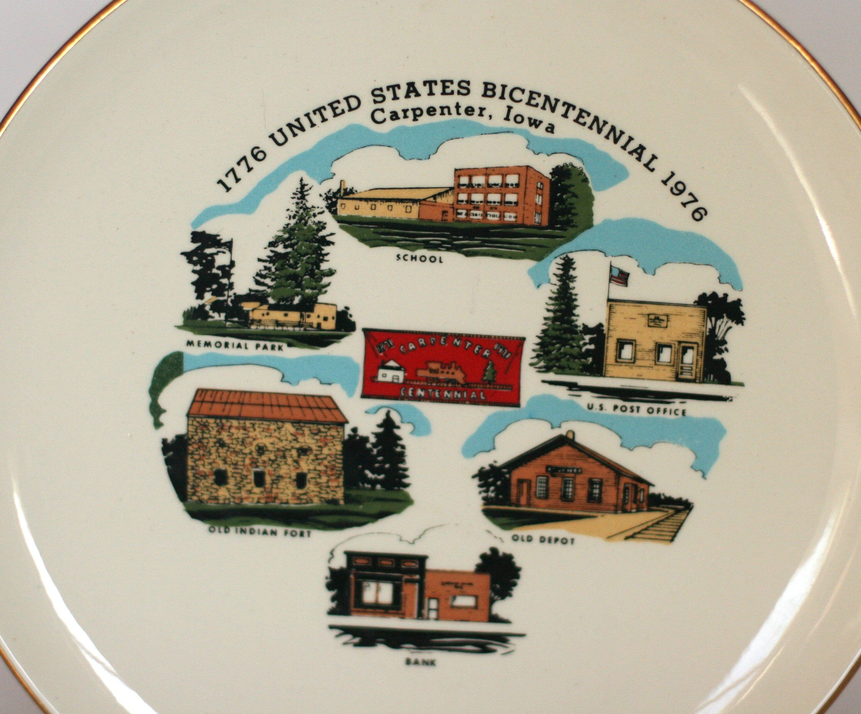Vintage Carpenter Iowa Bicentennial Plate 1976 Etsy Souvenir Plates Plates Iowa