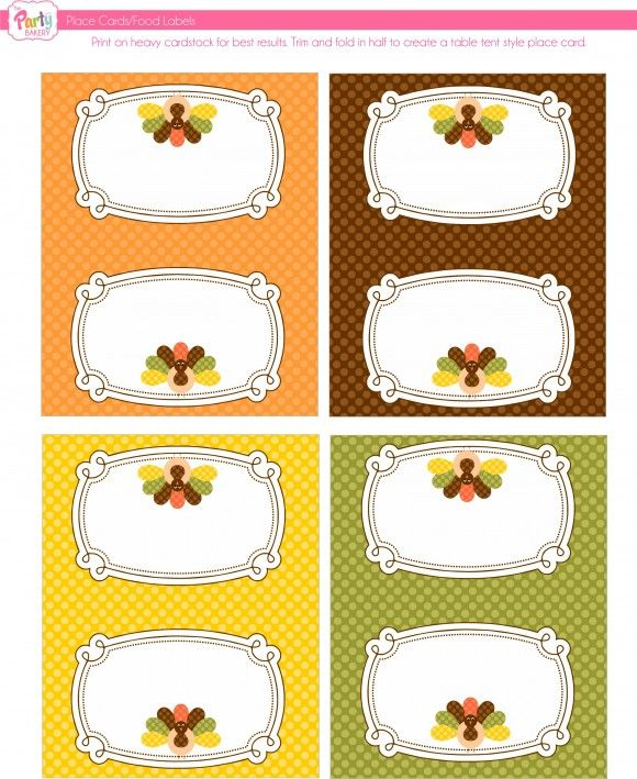 Free Thanksgiving Printables From The Party Bakery Free Thanksgiving Printables Free Thanksgiving Thanksgiving Place Cards