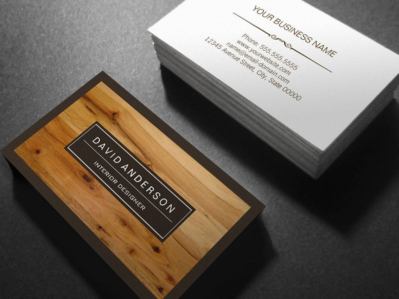 Customisable Professional Modern Wood Grain Look Business Cards ...