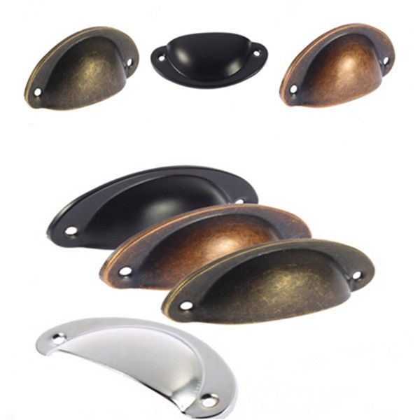 New Shell Shape Kitchen Drawer Cup Pull Metal Handle Antique Brass Pewter  Hot - New Shell Shape Kitchen Drawer Cup Pull Metal Handle Antique Brass