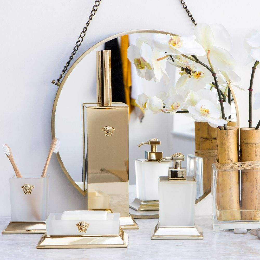 Com Versace Bathroom Accessories Lotion Pump Toothbrush Holder Artificial Flower Gold Luxury Hanging Mirror