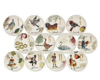 Williams Sonoma Christmas Plates.12 Days Of Christmas Salad Plates Set Of 12 Fun Finds
