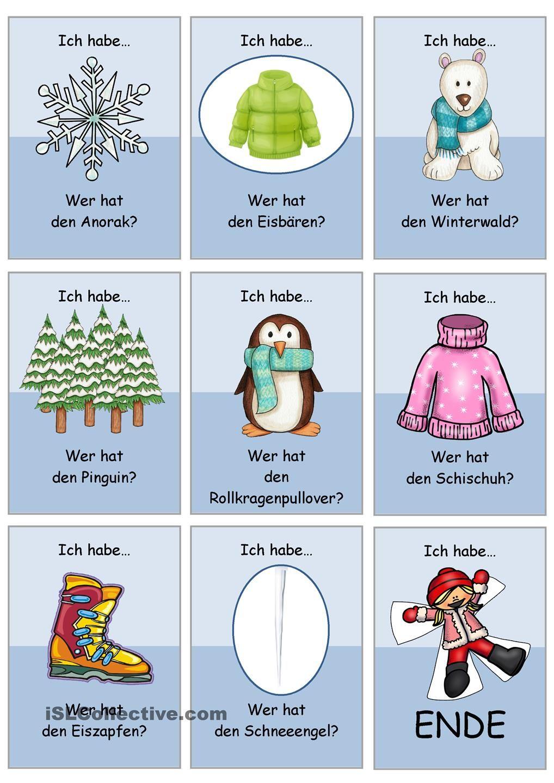 lesespiel winterw rter 1 einfach 3 3 1 schuljahr ideen learn german deutsch und german. Black Bedroom Furniture Sets. Home Design Ideas