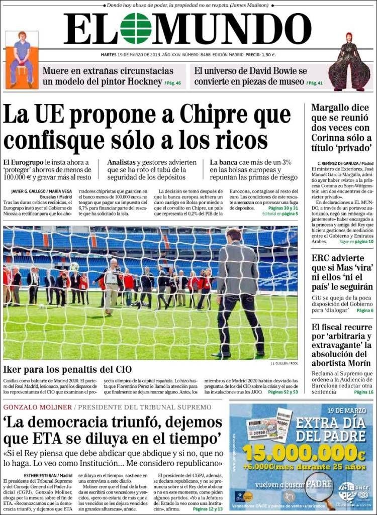 Los Titulares y Portadas de Noticias Destacadas Españolas del 19 de Marzo de 2013 del Diario El Mundo ¿Que le parecio esta Portada de este Diario Español?
