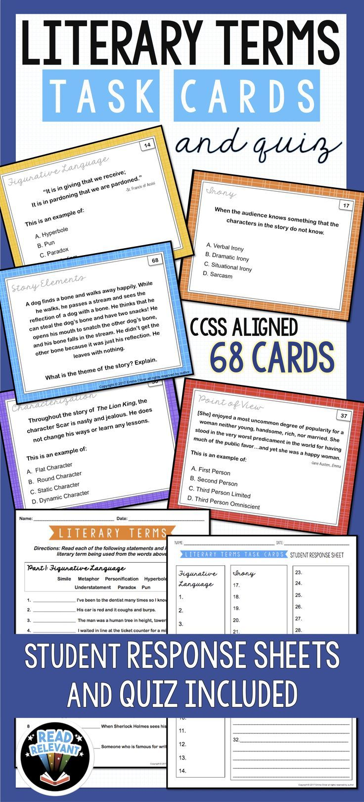 Literary Terms Task Cards And Quiz Literary Terms Story Elements