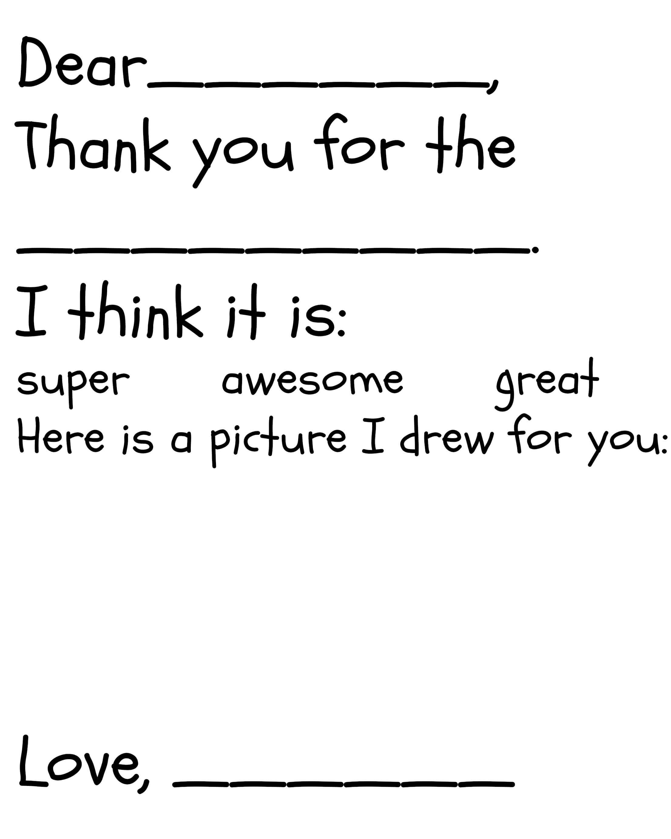 Free kids thank you note printables thank you cards
