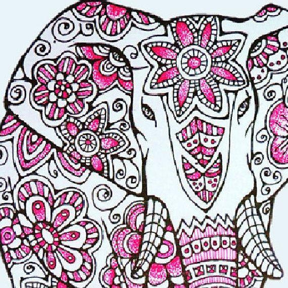 Elefante para colorear página para imprimir y Color   manualidades ...