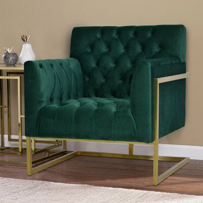 "Everly Quinn Wafford Armchair Fabric: Polyester/Polyester blend in Green, Size 33.5"" L x 33"" W x 37"" H 