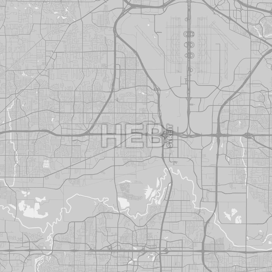 Euless Texas Area Map Grey
