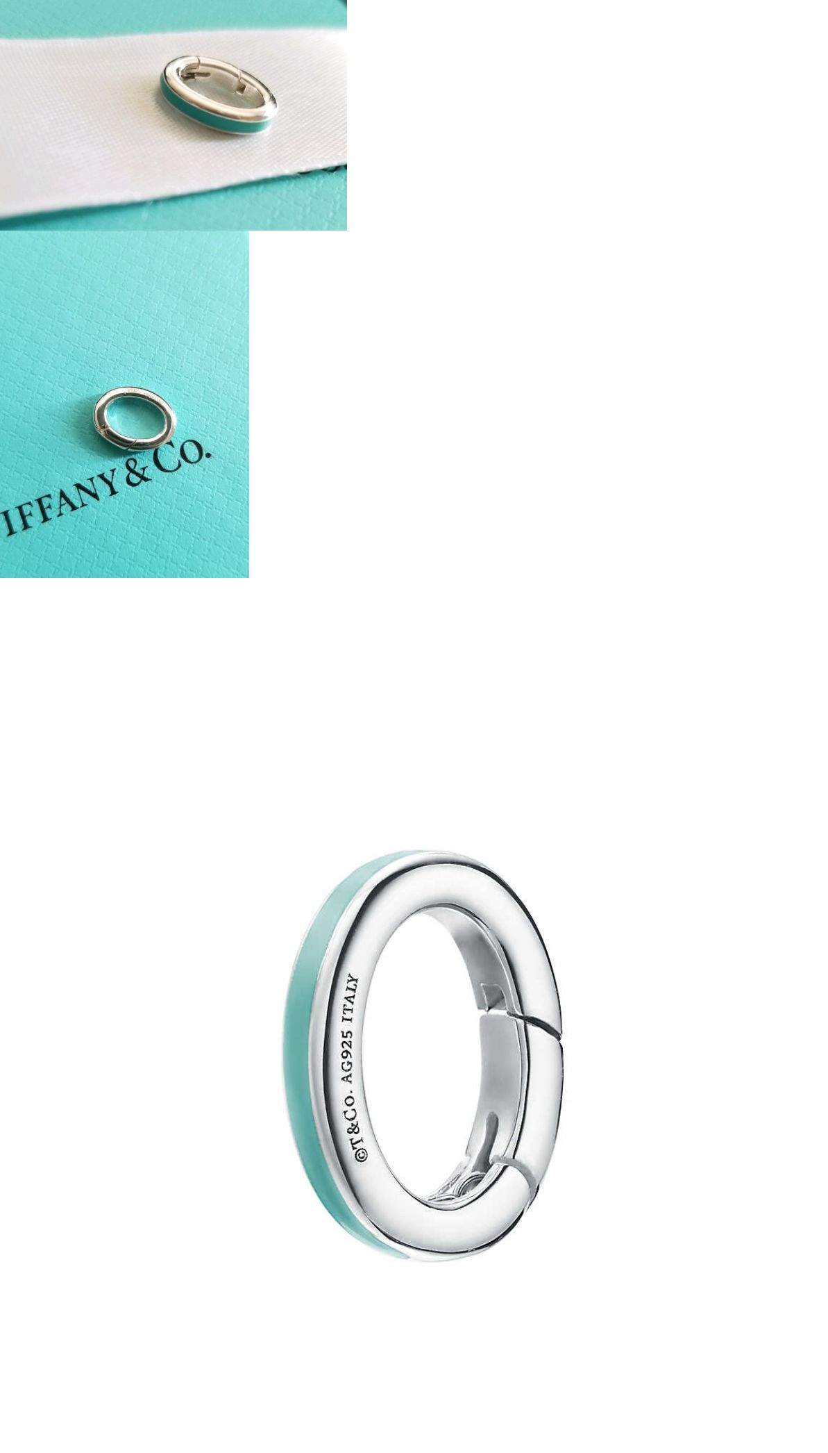 f10d412e6 Fine Charms and Charm Bracelets 140956: Tiffany And Co Silver Blue Enamel  Clasping Link Oval Jump Spring Ring Charm Holder -> BUY IT NOW ONLY: $49 on  #eBay ...