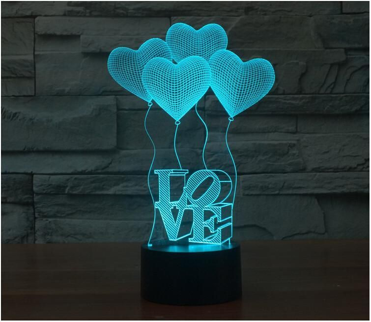 Reduced To Clear Spoil Your Loved Ones With This Amazing Led Love Balloon Night Lamp It Will Instantly Light Up An With Images 3d Led Lamp 3d Night Light 3d Illusion