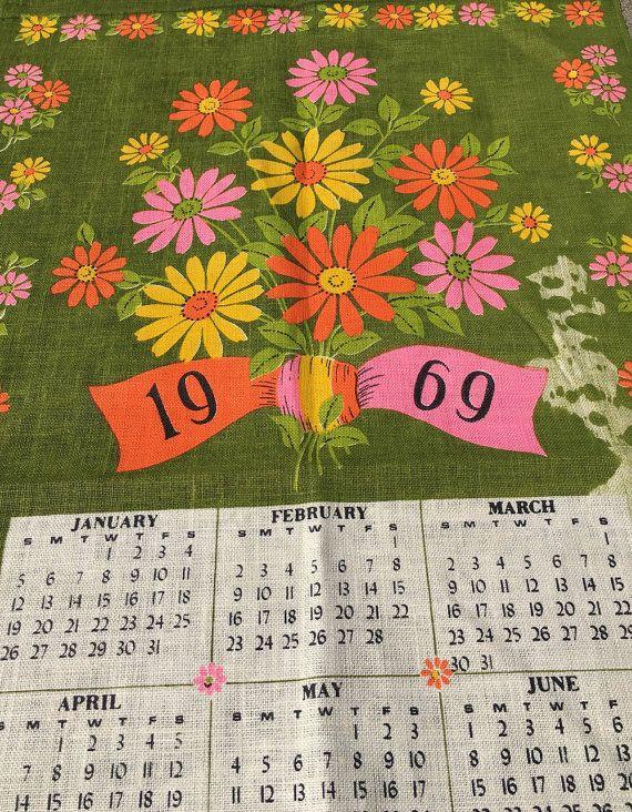 Vintage Unused 1969 Calendar Linen Kitchen Towel By Historyofagirl