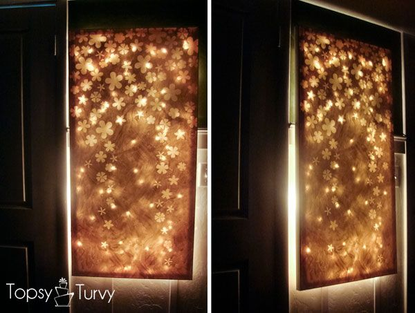 Make a backsplash for a wall in the receptionke it with lace im topsy turvy lit up canvas wall decor elmers look for less another great night light idea that also adds some beauty aloadofball Images