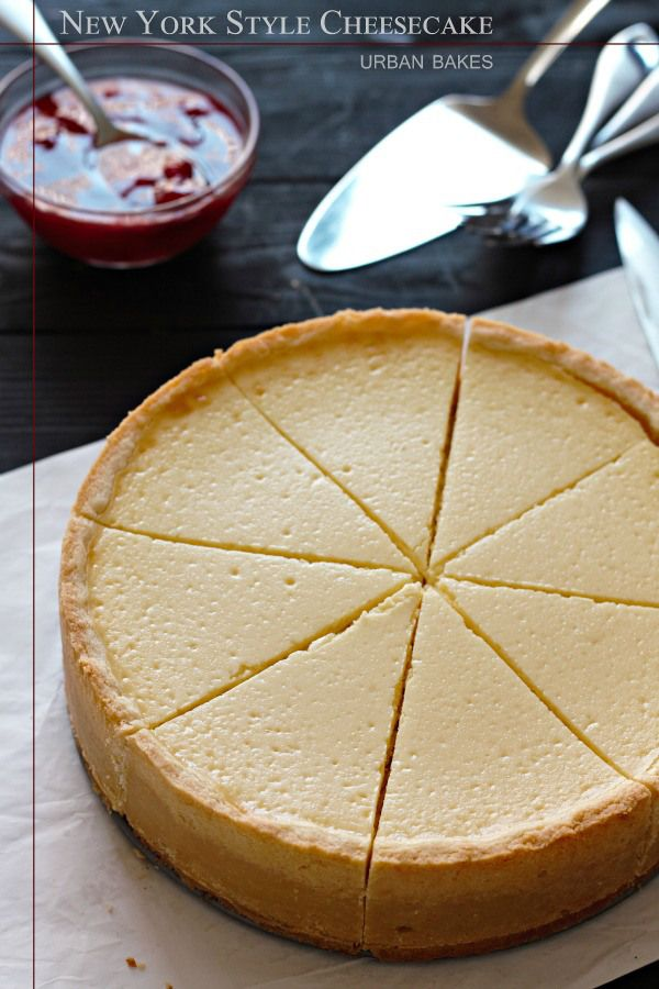 Classic New York Style Cheesecake with Strawberry Topping