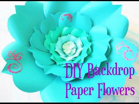 DIY Large Paper Flower, Paper flower Stencil, Paper Flower Backdrop, Backdrop Flowers - YouTube