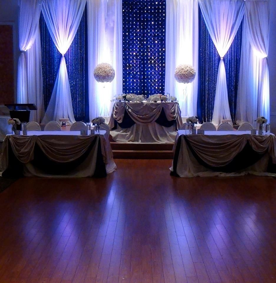 Elegant royal blue wedding backdrops by mega city group for Back ground decoration