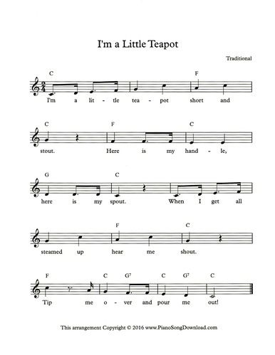 Im A Little Teapot Free Leadsheet With Chords And Lyrics From