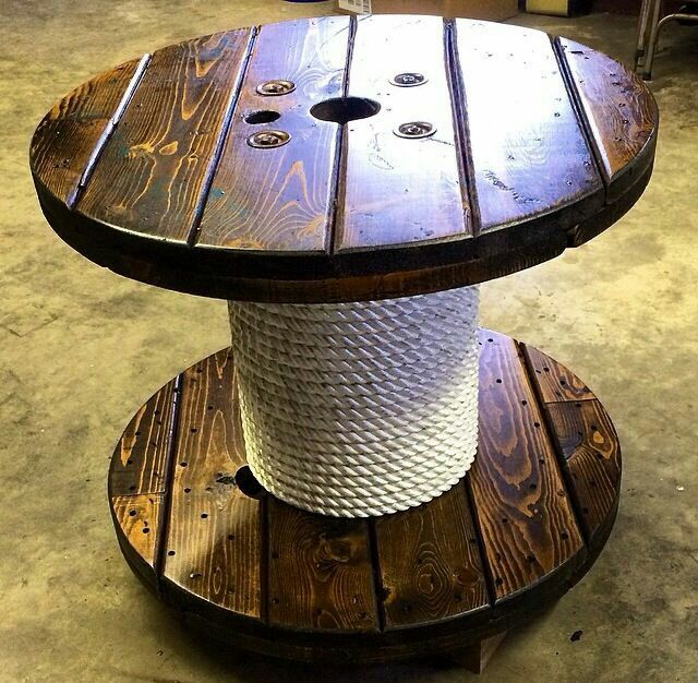 I Absolutely Love This Heavy Rope Nautical Feel Spool Furniture Wooden Spool Tables Wooden Cable Spools