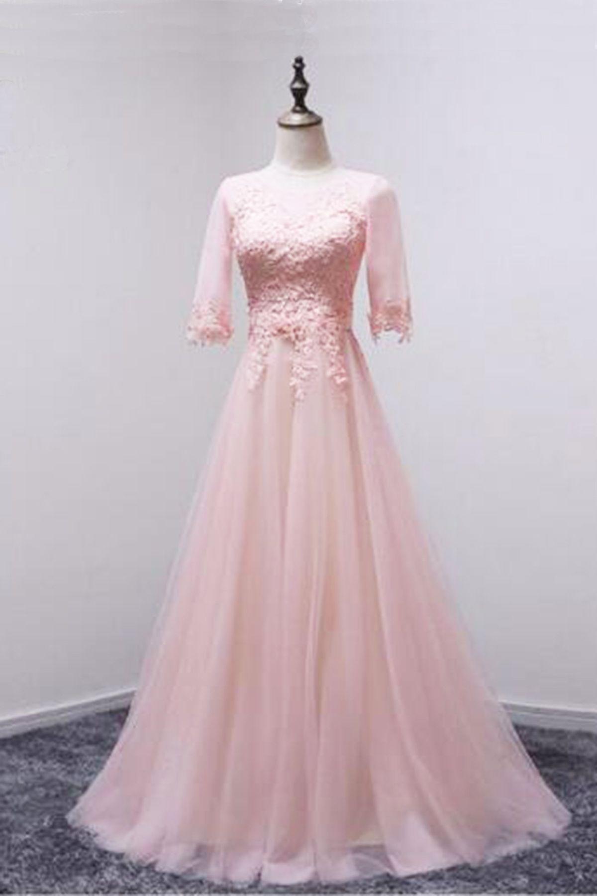 Pink tulle midsleeves long aline prom dress bridesmaid dress