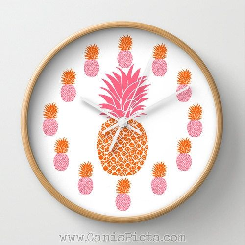 Pineapple Wall Clock Natural Wood Black White Frames Ananas Tropical Sweet Tropics Fruit Hot Pink Neon Orange Pop Art Decorativee Bright Fun on Etsy, $45.00