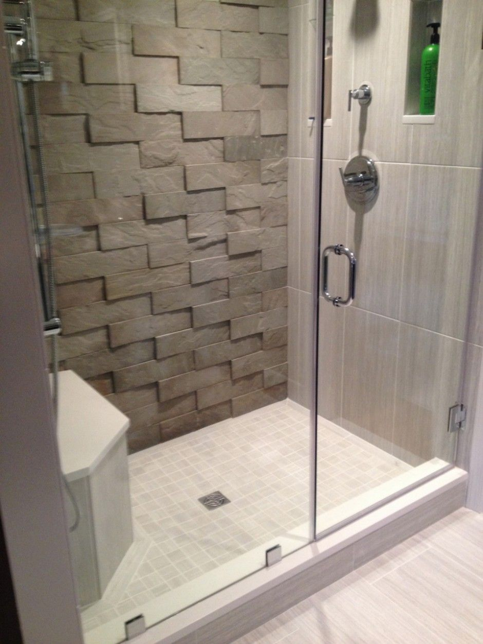 Small Shower Room With Frameless Door Feature 3d Surface Tiles Feature Wall And Zigzag Natural Stone Wall Til Ceramic Floor Tile Small Shower Room Shower Floor