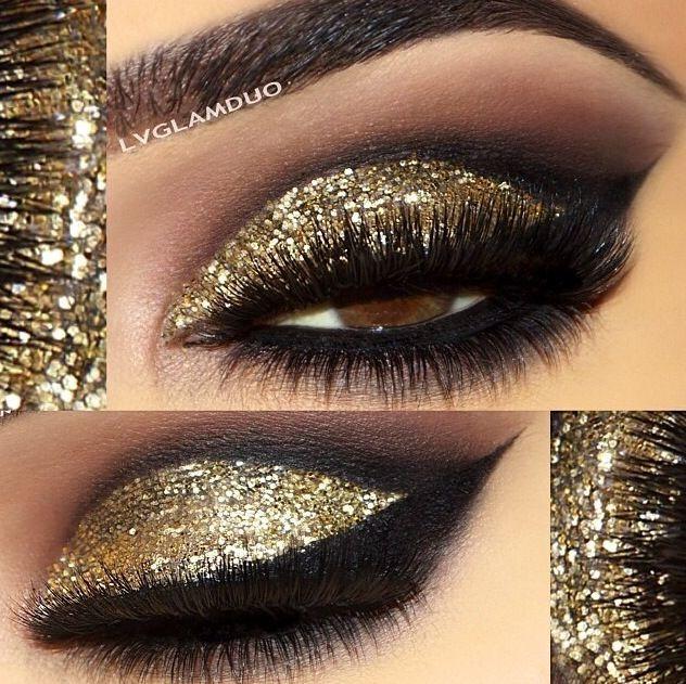 Machiaj Smokey Eyes Cu Auriu Si Sclipici Machiaj Gold Glitter