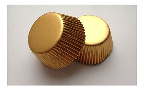 50 Pcs Gold Cupcake Liners Baking Cup Shiny Aluminum Foil Wedding