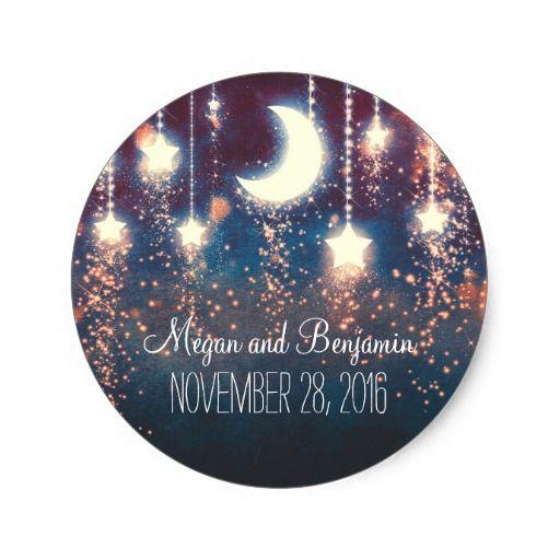 moon and stars enchanted romantic wedding classic round sticker