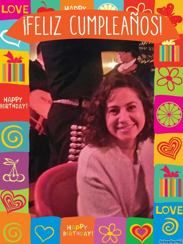 Tarjeta de cumpleaños con marco de colores y dibujos para ...