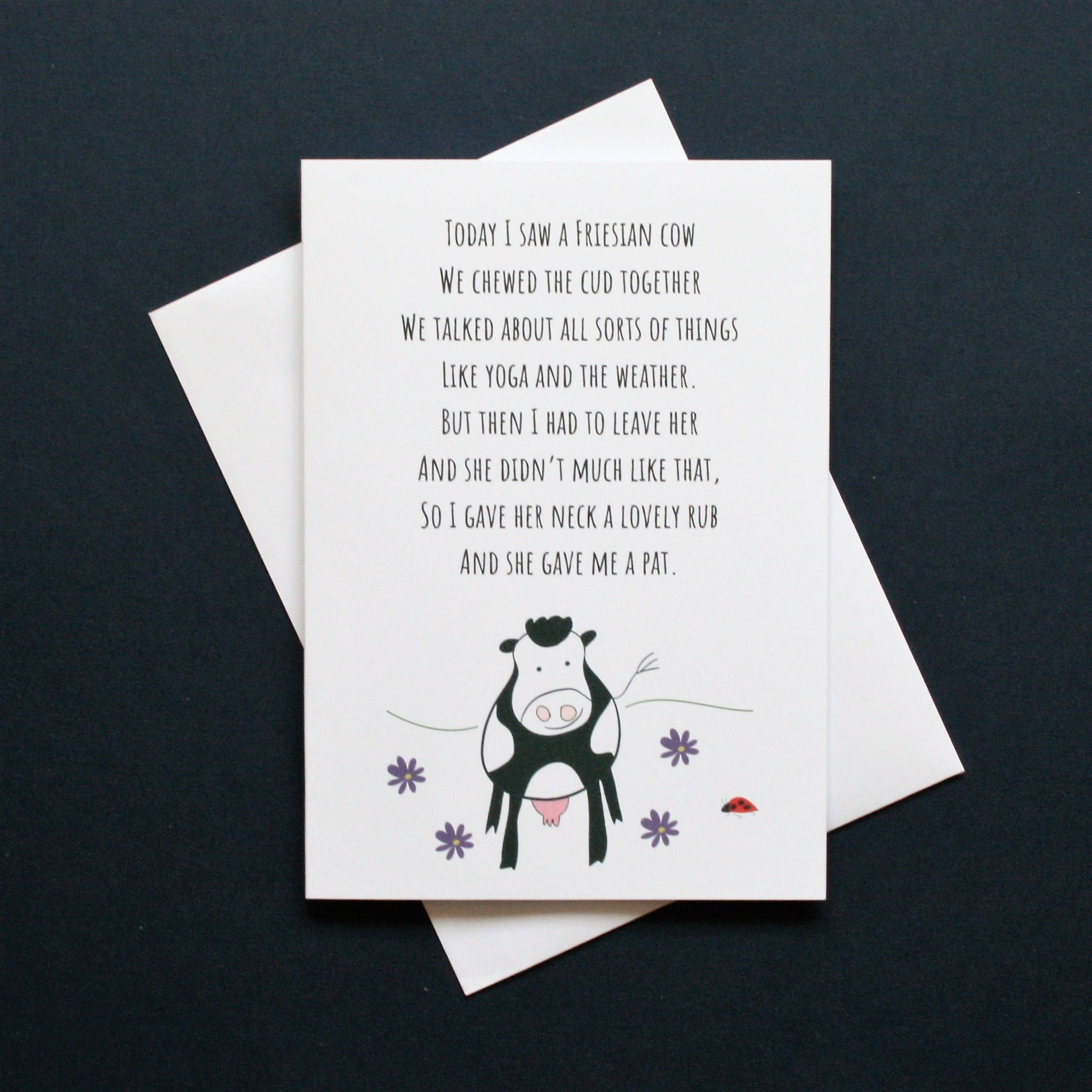 Uncategorized Cow Poems funny cow poem leaving chewing the cud friesian card pat on back silly po