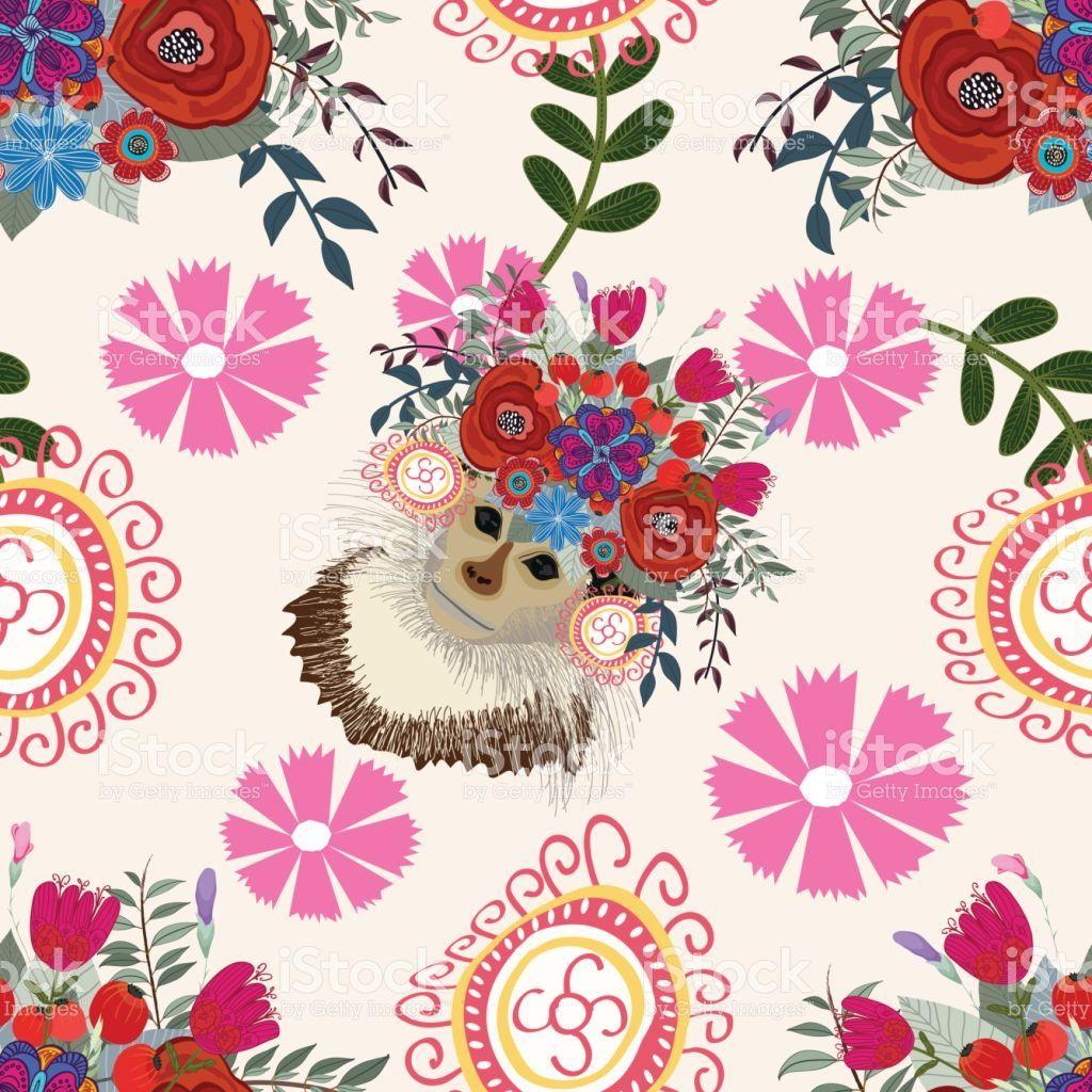 Monkey floral background pattern flower seamless pinterest