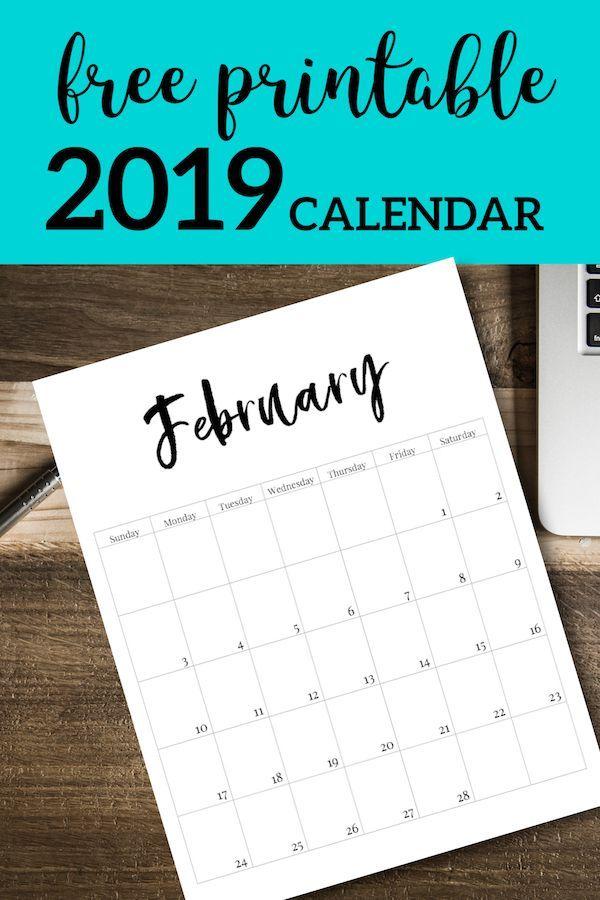 Free Printable 2019 Calendar Template Pages DIY Pinterest