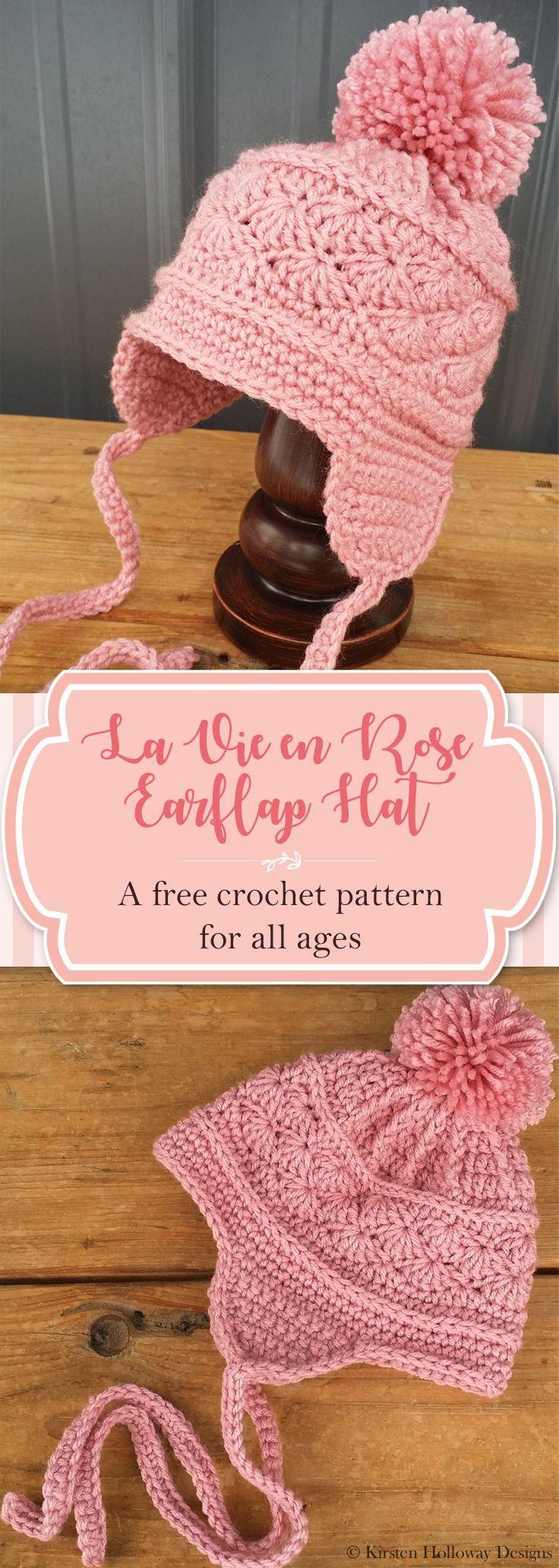 Pattern - La Vie en Rose Earflap Hat | Mütze, Häkeln und Häckeln