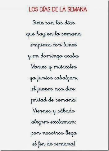 Poesia Dias De La Semana 2 Vocabulaire Espagnol Classe D Espagnol Cours Espagnol