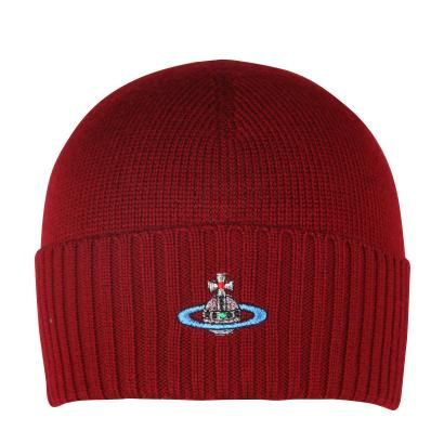 Vivienne Westwood Man Men s Classic Orb Burgundy Knitted Beanie Hat ... 7d5a1cf844f