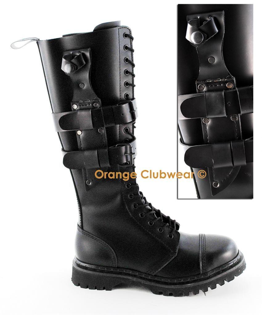 DEMONIA PREDATOR-I Men's Black Leather Steel Toe Combat Knife Holder Knee  Boots
