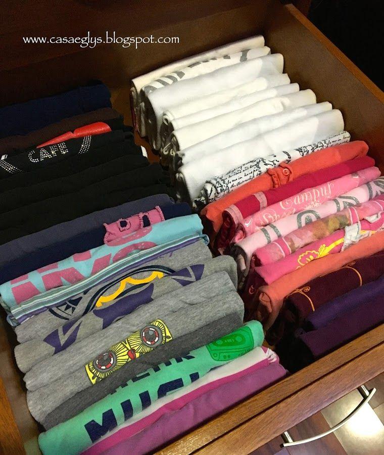 Organización Cómo Doblar Una Camiseta Paso A Paso De Manera Eficiente Organización De Armarios De Dormitorio Organización De Ropa Como Organizar Un Closet