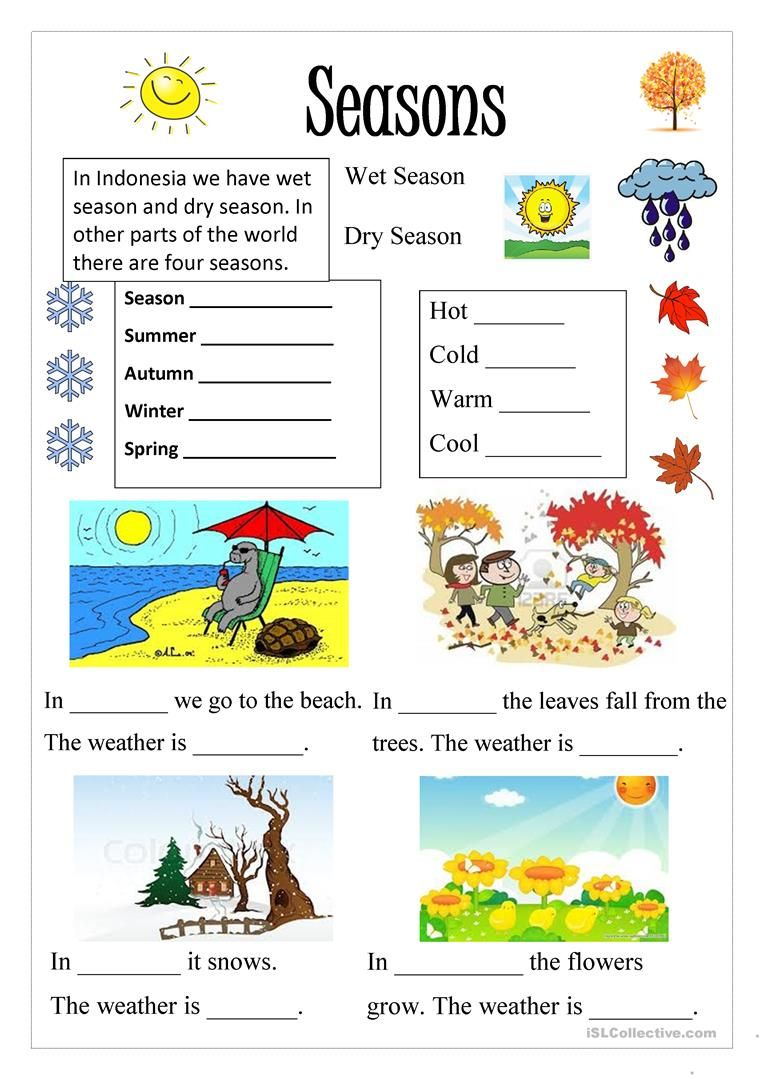 Season English worksheets for kids, Seasons worksheets