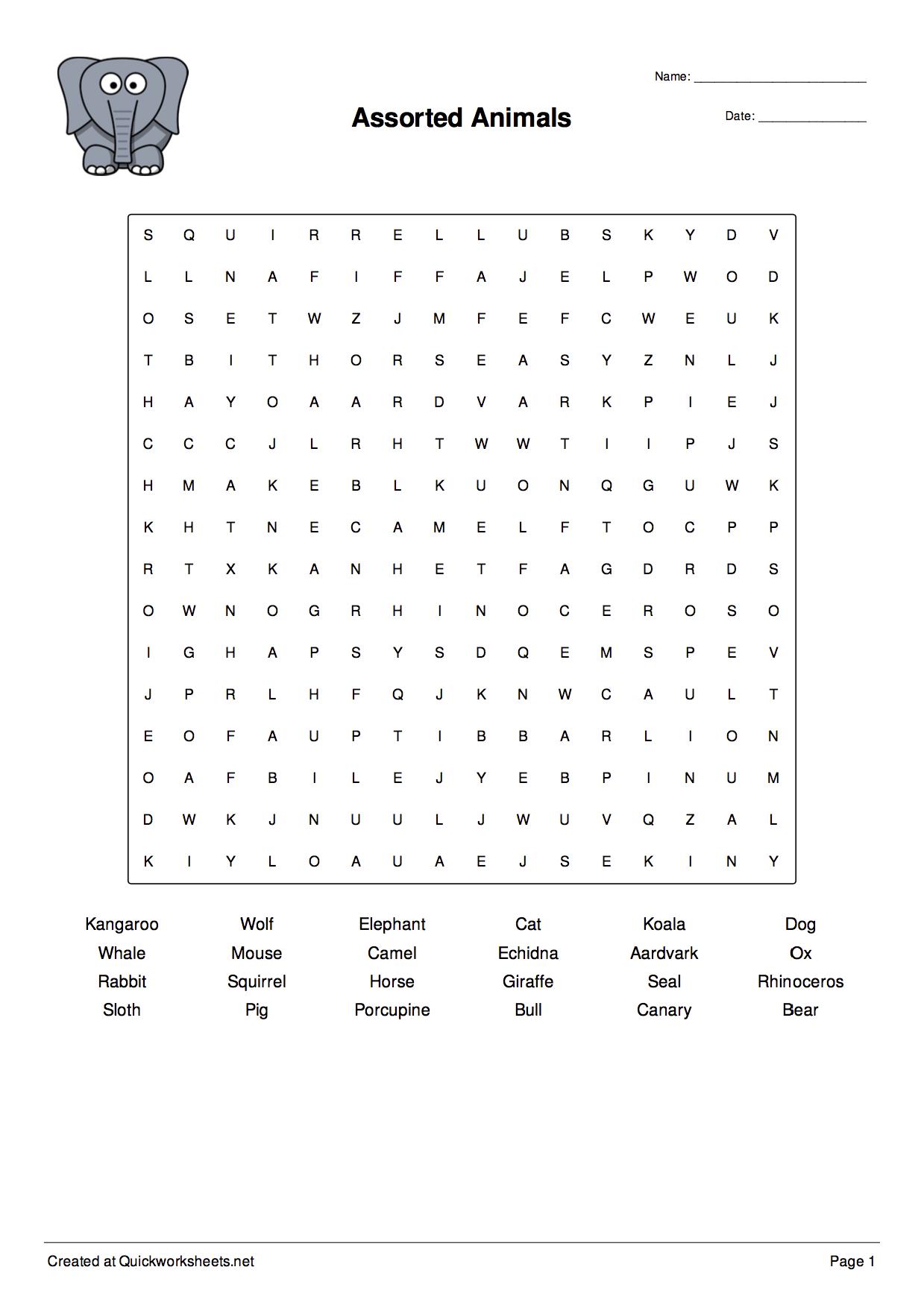 Word Scramble Wordsearch Crossword