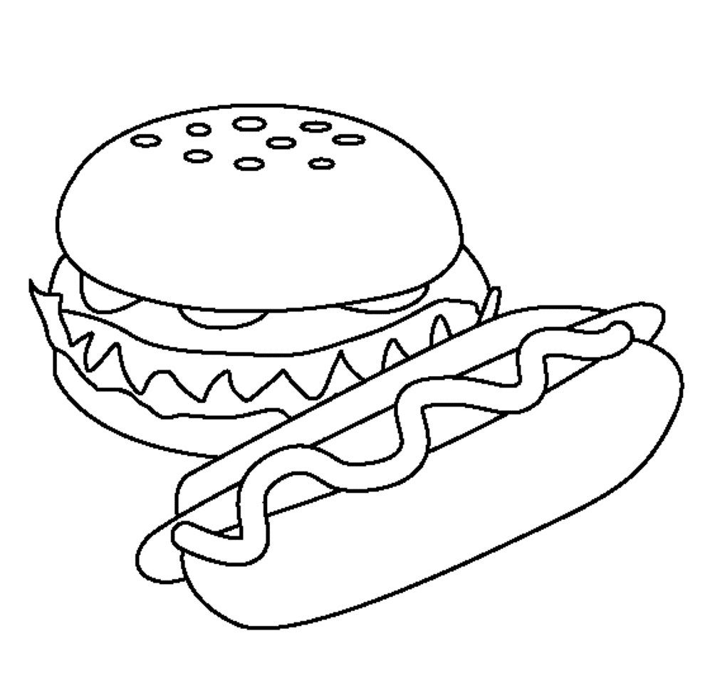 Food Coloring Pages Simple Pictures