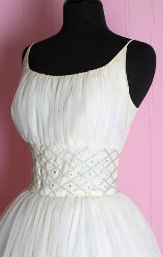Té Blanco Longitud de 1950 de la princesa boda vestidos de novia de la vendimia del vestido de longitud de té negro de 1950 de 50: