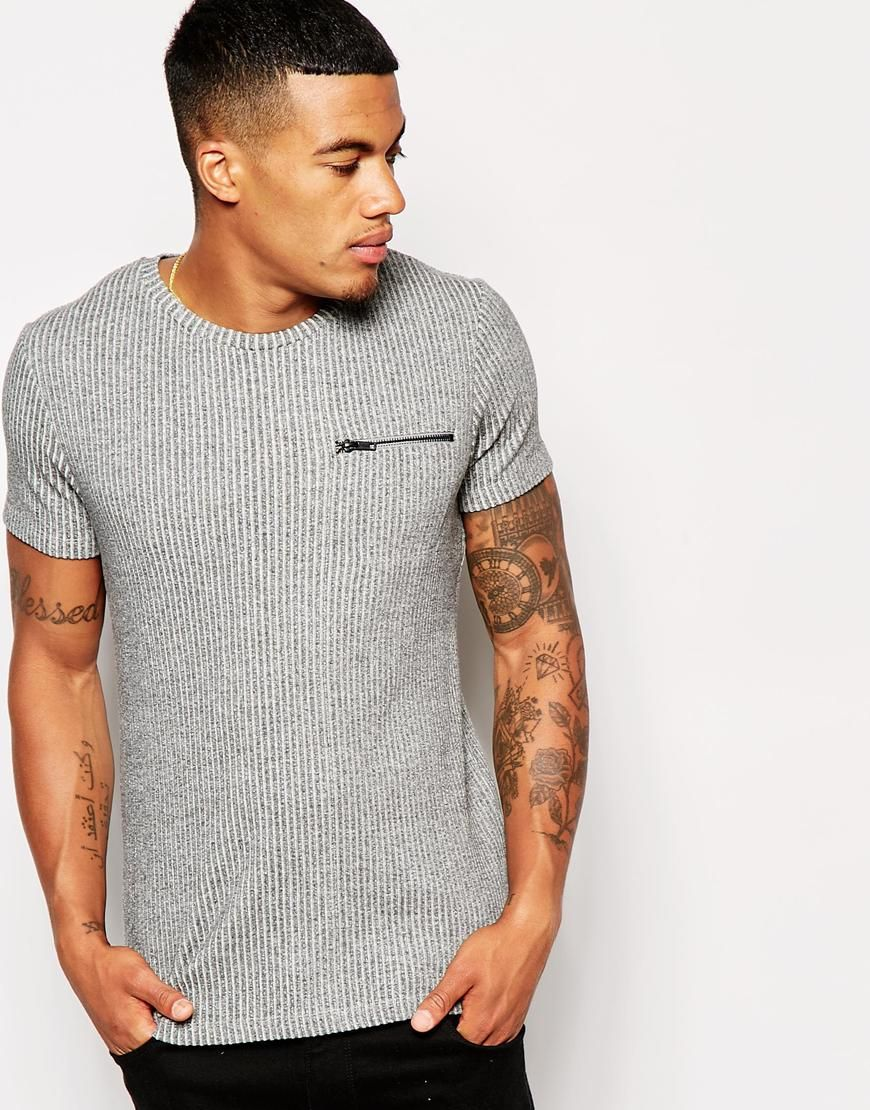 ASOS Muscle Fit Rib T-Shirt With Crew Neck And Stretch at asos.com