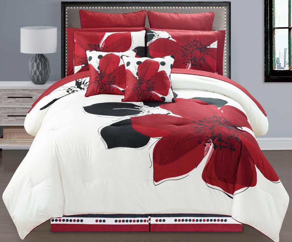 6 Pieces Burgundy Red Black White Grey Floral Comforter Bed In A Bag Set In 2020 Burgundy Bedding Bed Comforters Beautiful Bedroom Set