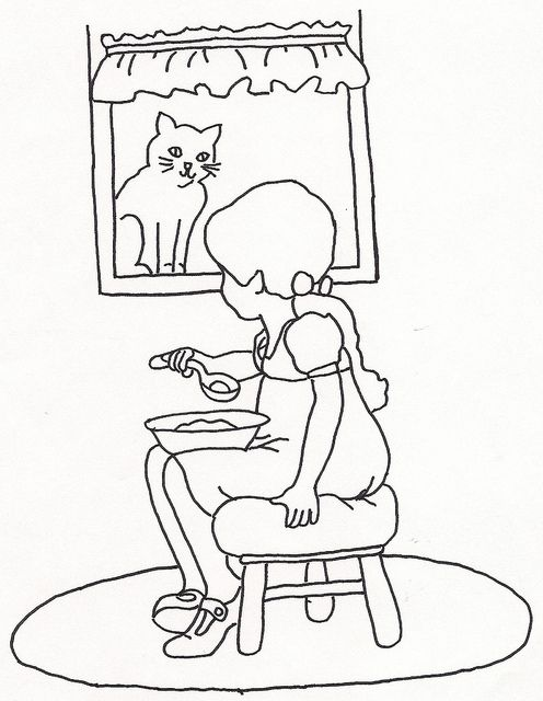 Girl Eating by Cat in Window by jeninemd, via Flickr