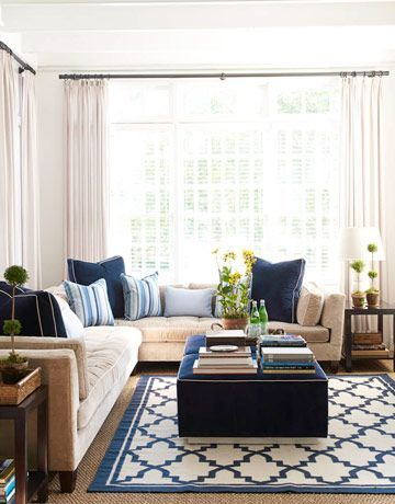 A Blue And White Design Beige Living Rooms Comfy Living Room Design Living Room Designs