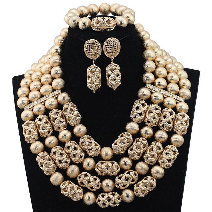 Collana di lusso dichiarazione coraggiosa Dubai Gold rilievo Impostare nigeriano Wedding perline africane insieme dei monili accessorio HX607 spedizione gratuita