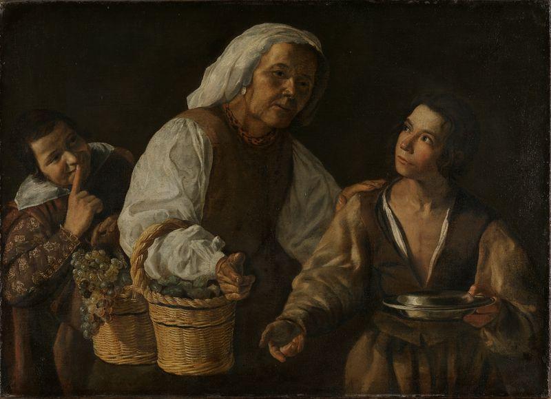 Velázquez, Diego, hans skole (tilskrevet), Den gamle fruktselgerske. Antagelig midten av 1600-tallet