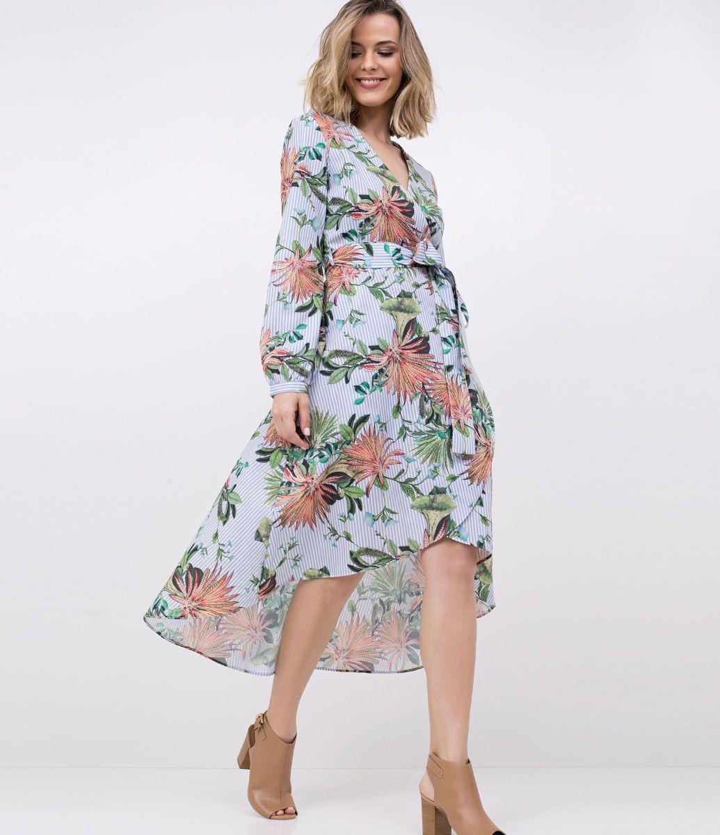 482719128 Vestido feminino Modelo Midi Manga longa Transpassado Amarração na cintura  Estampado floral Marca  Marfinno Tecido