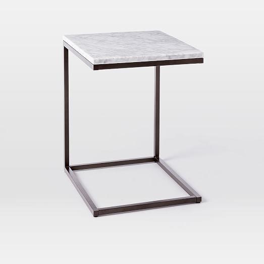 Box Frame C Base Side Table Marble Antique Bronze Marble Side Tables Dining Table Marble Side Table